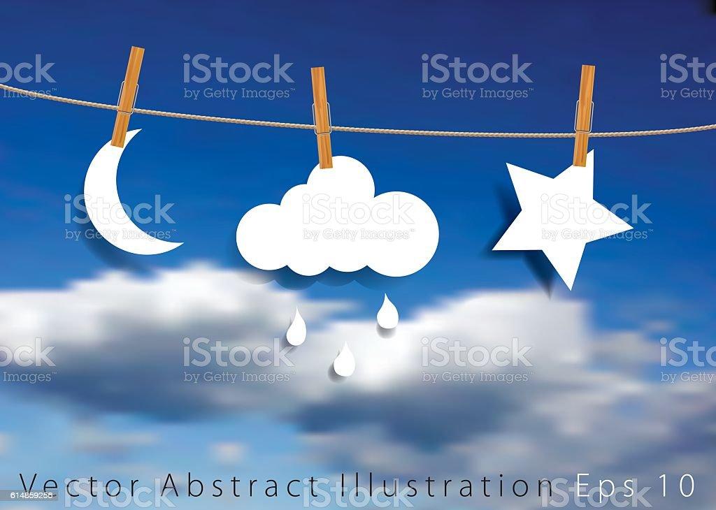 rain star and moon vector art illustration