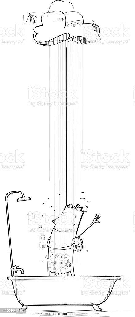 Rain the Bathtub royalty-free stock vector art