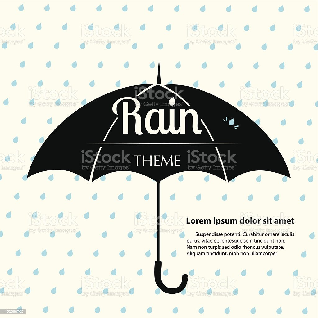 Rain Theme Template vector art illustration