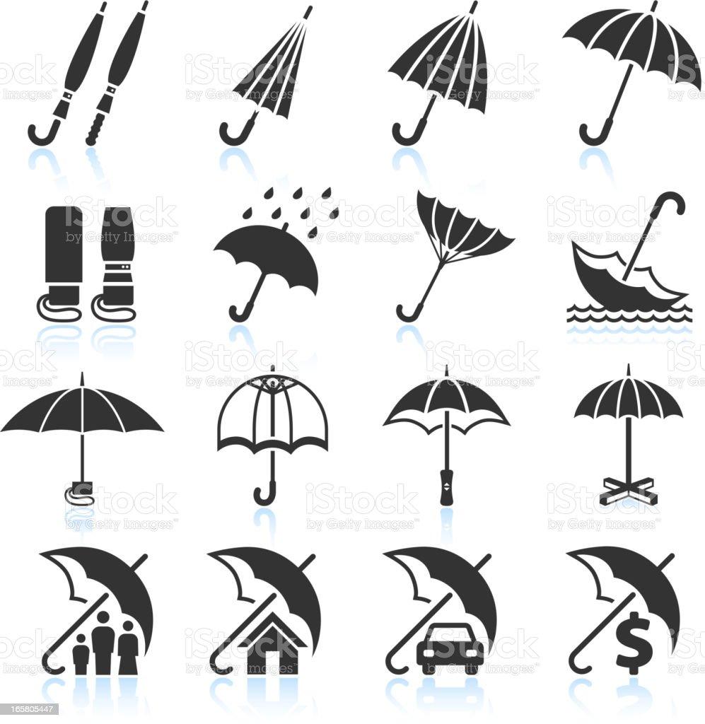 Rain Umbrella Protection and insurance royalty free vector icon set royalty-free stock vector art