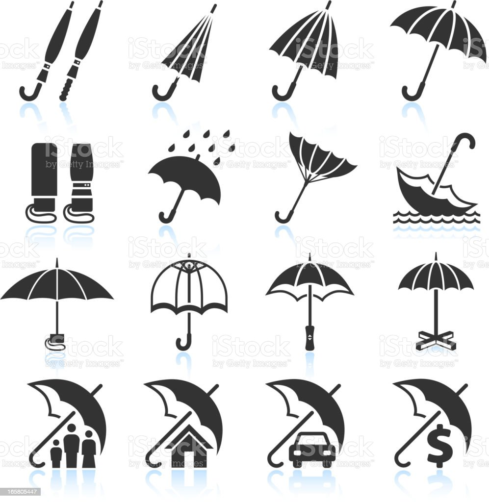 Umbrella Protection black & white set vector art illustration