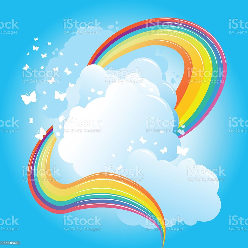 Rainbow and butterflies in the clouds royalty-free stock vector art