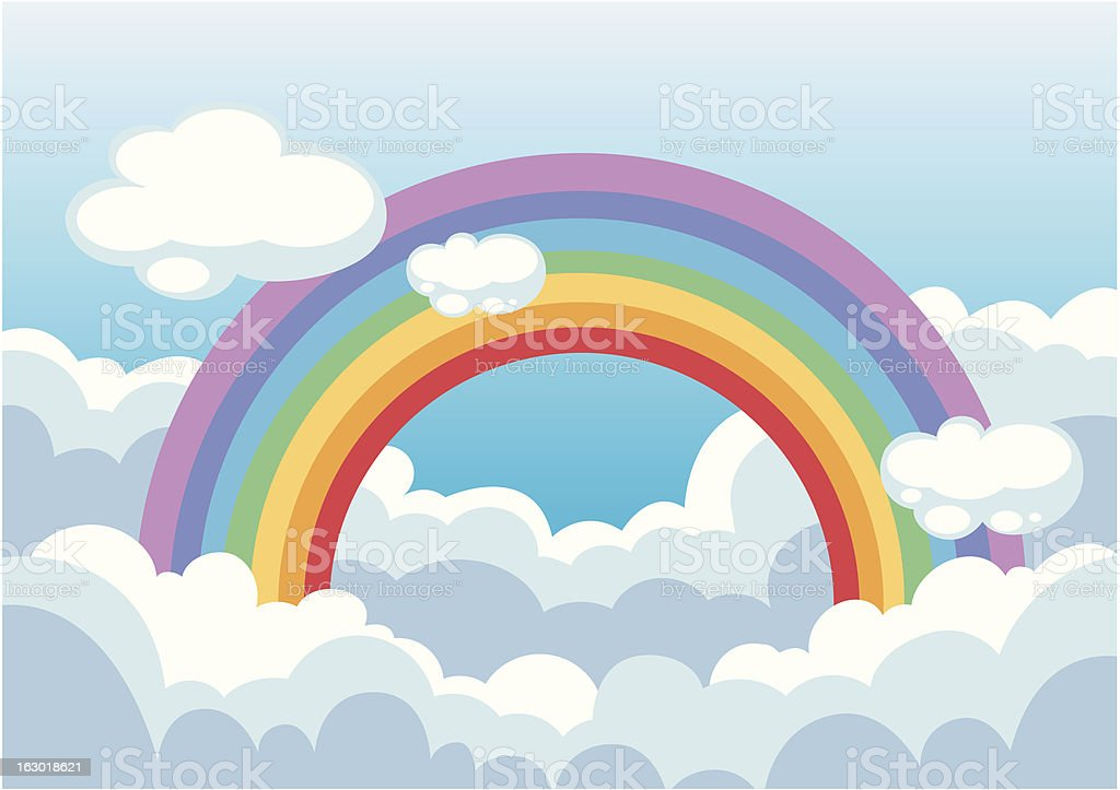 rainbow and clouds in the sky royalty-free stock vector art