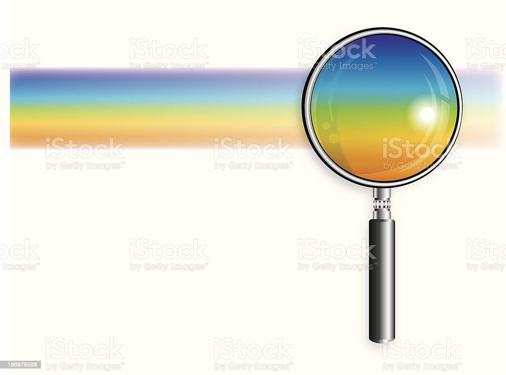 Rainbow And Magnifying Glass royalty-free stock vector art