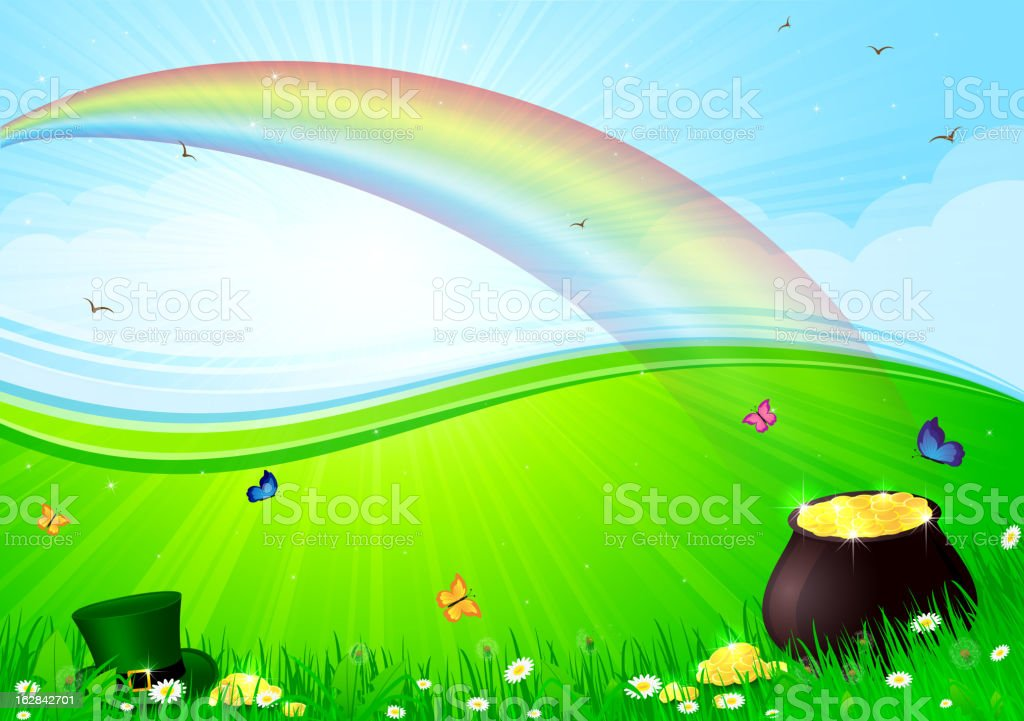 Rainbow and pot with gold royalty-free stock vector art