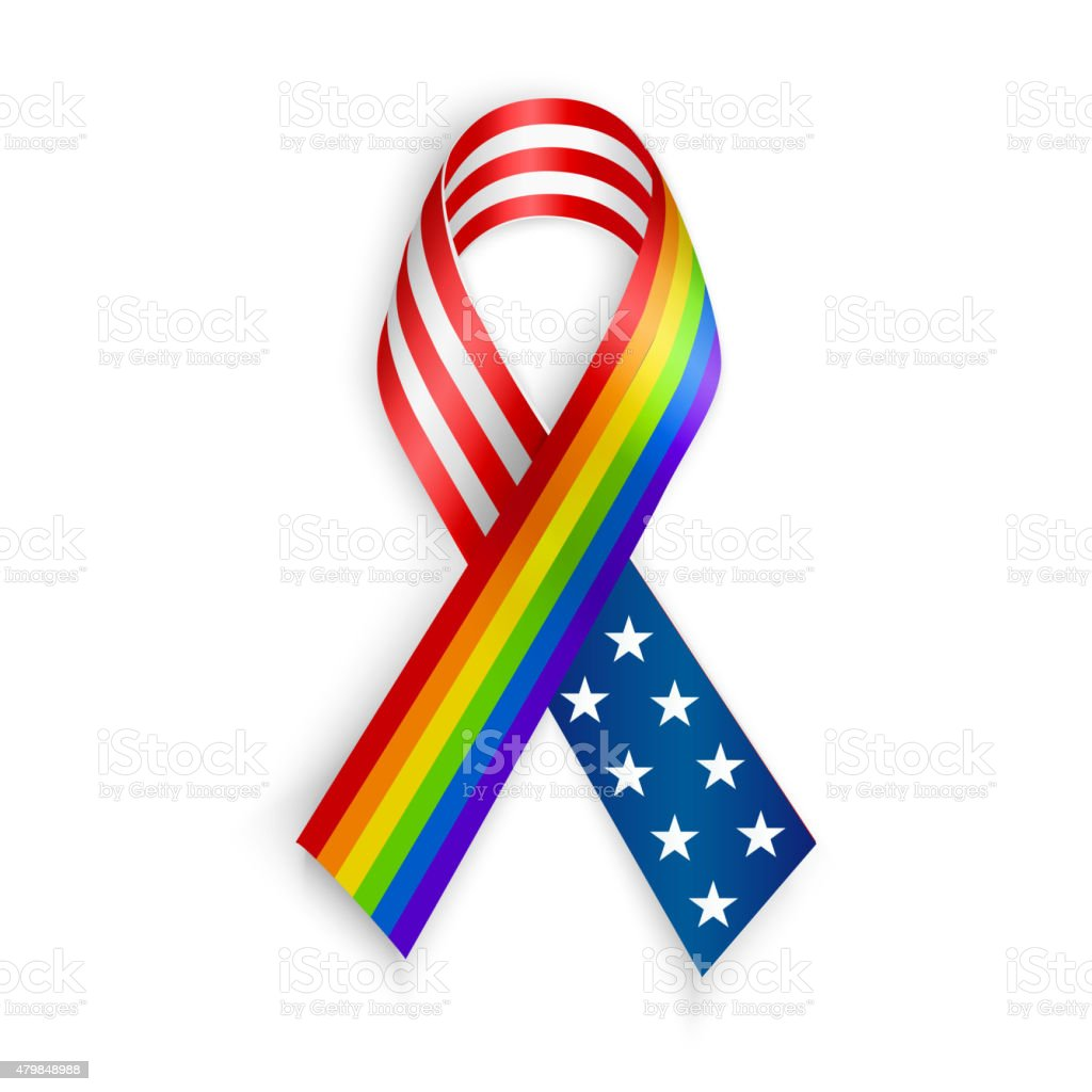 Rainbow and USA Ribbons. Isolated on white with transparent shadow vector art illustration