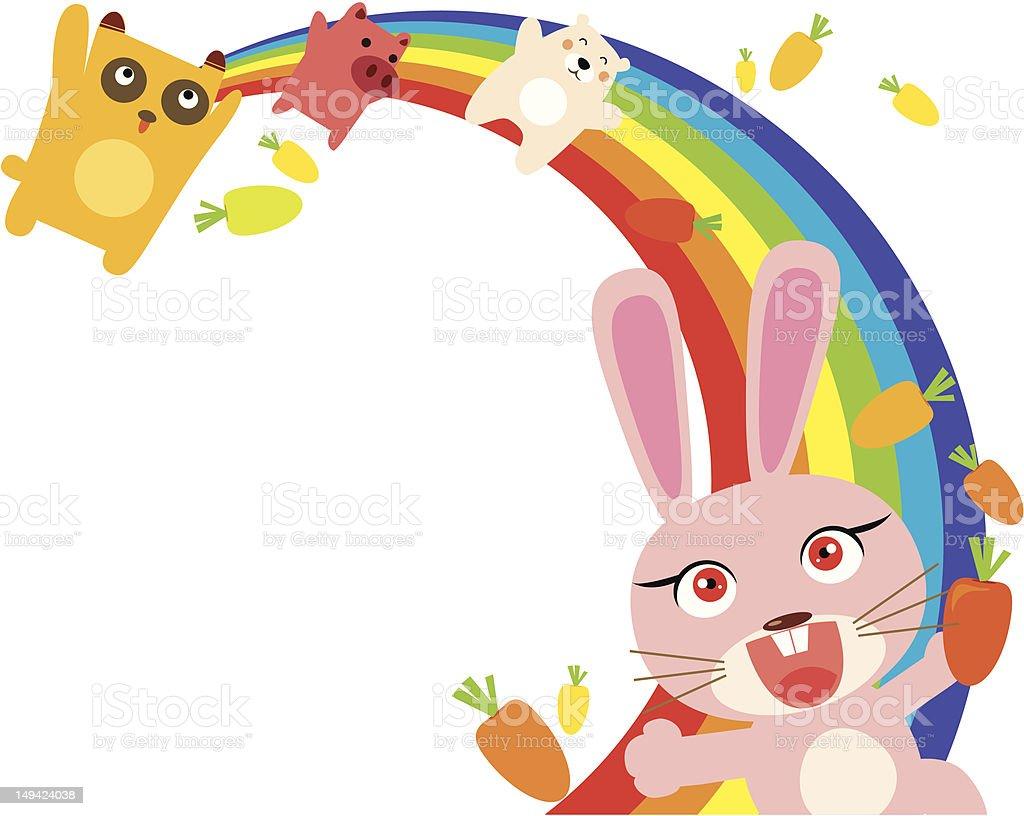 rainbow animals royalty-free stock vector art