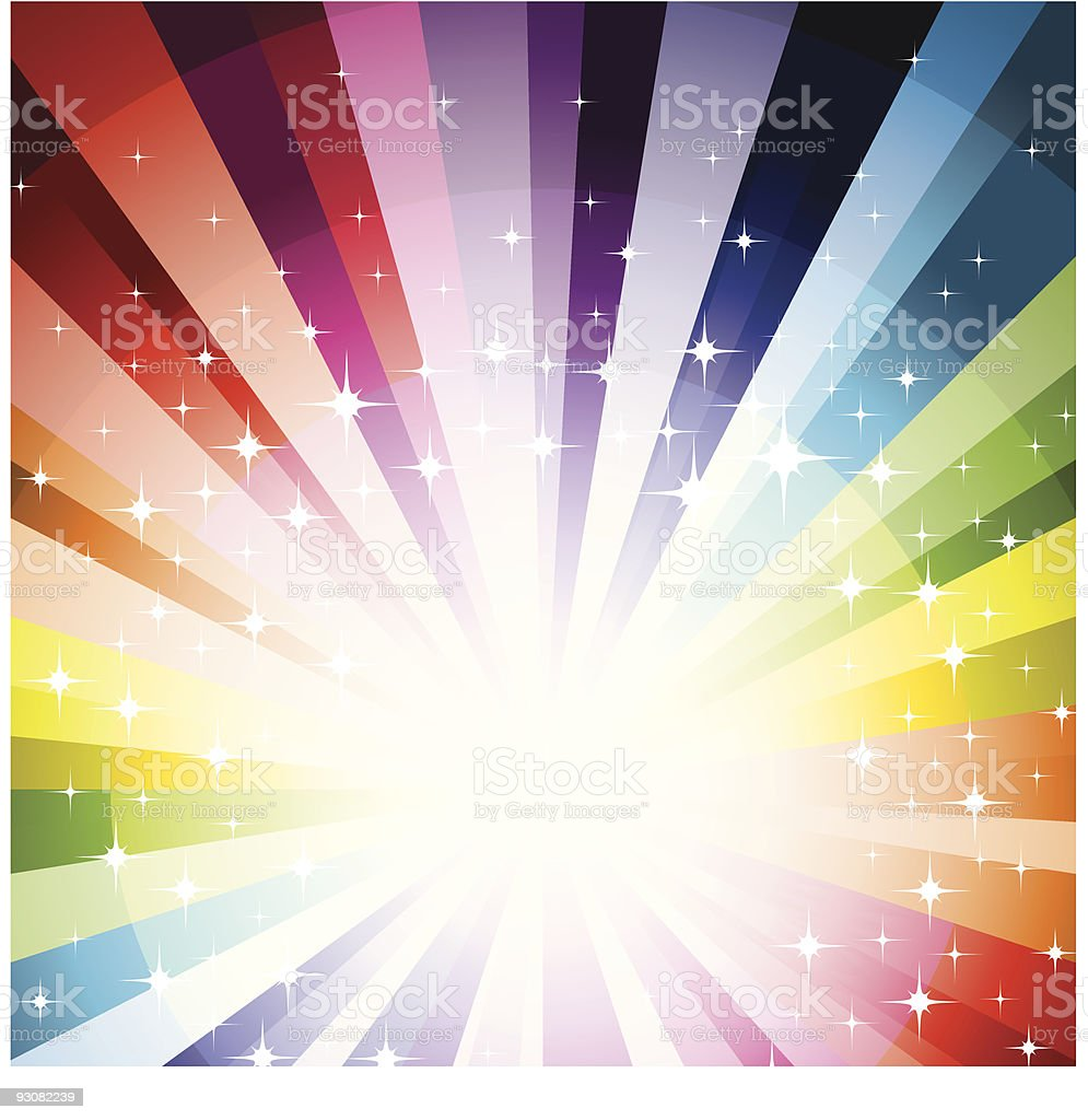A rainbow background with a sunburst royalty-free stock vector art