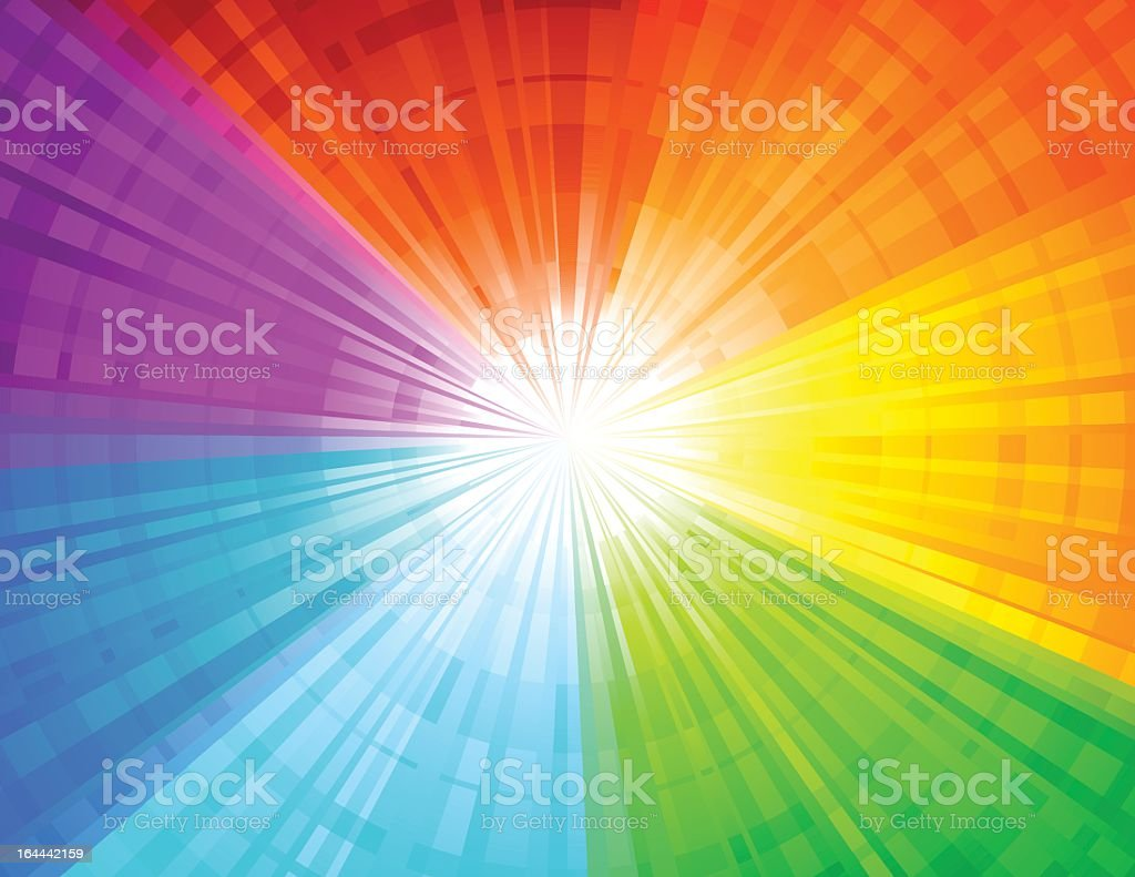 Rainbow beams coming from one light royalty-free stock vector art