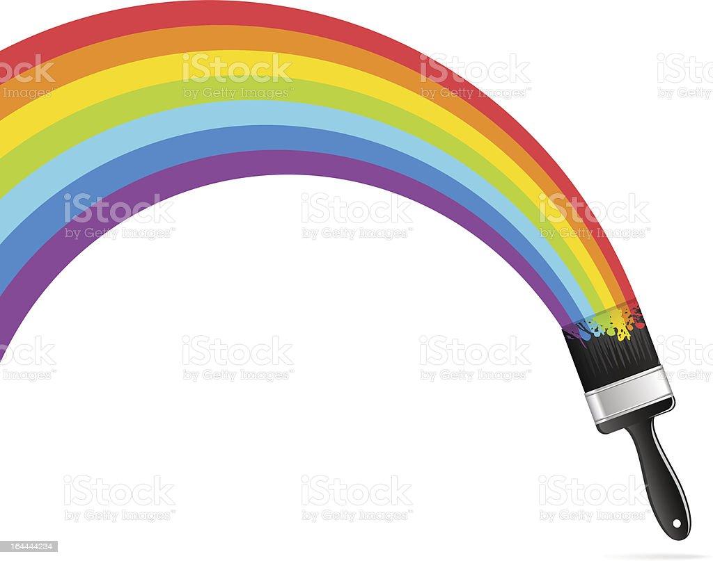 Rainbow brush vector art illustration