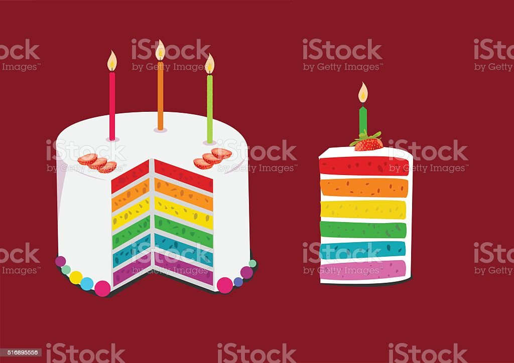 rainbow cake decorated with birthday candles vector art illustration