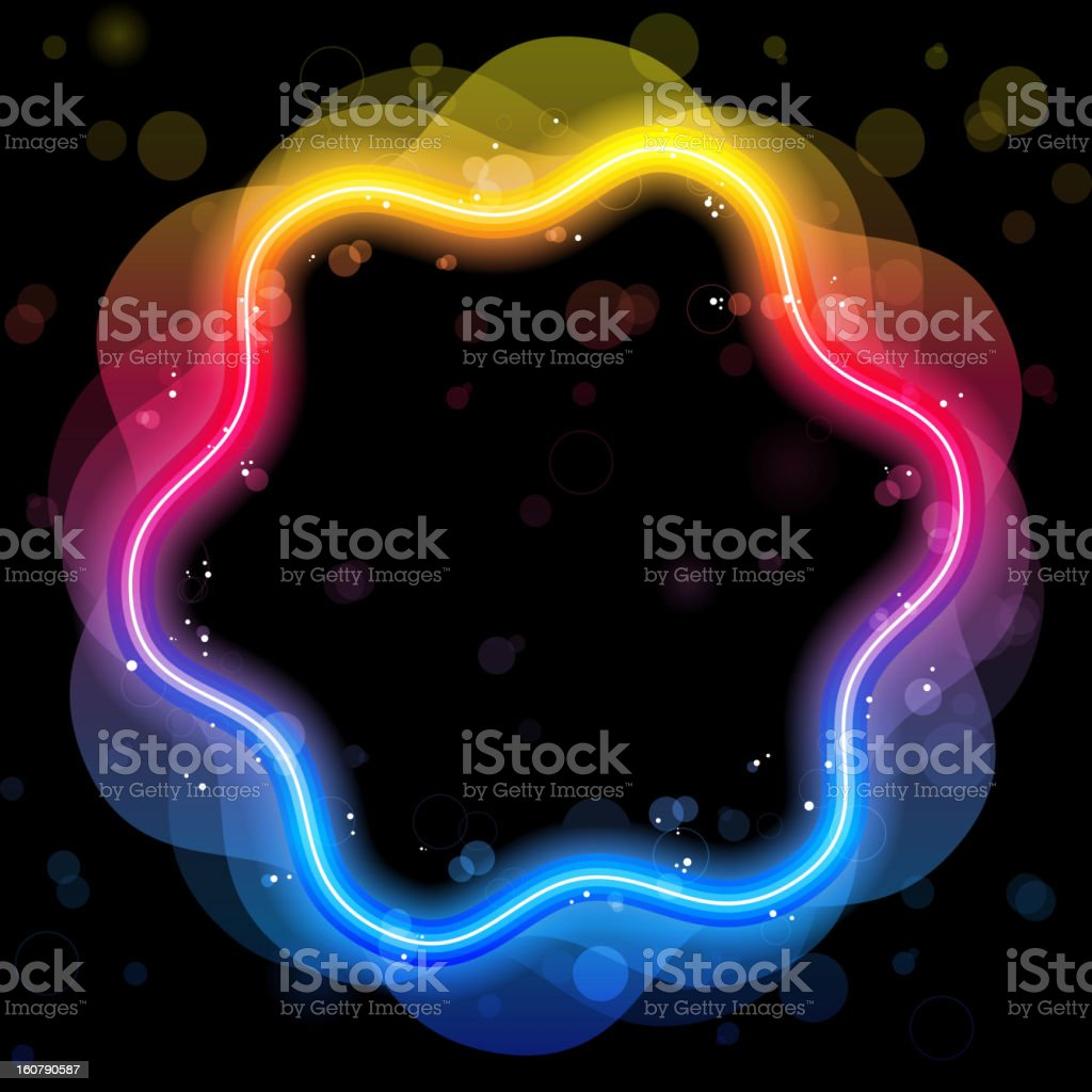 Rainbow Circle Border with Sparkles and Swirls royalty-free stock vector art