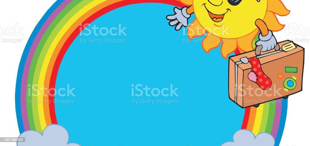 Rainbow circle with sun traveller royalty-free stock vector art