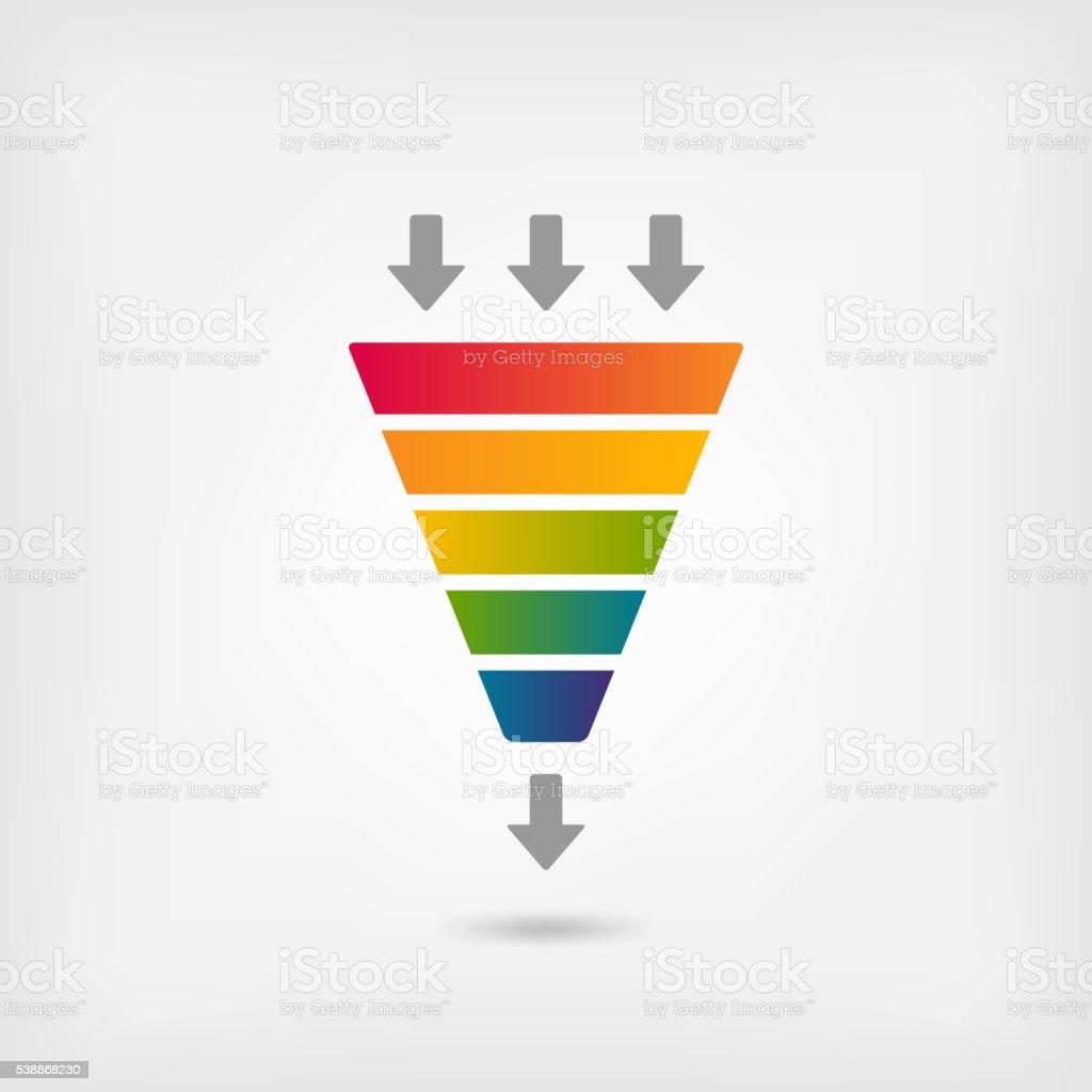 rainbow color marketing funnel vector art illustration