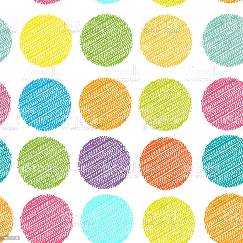 rainbow color Polka dot background, seamless pattern. embroidery vector art illustration