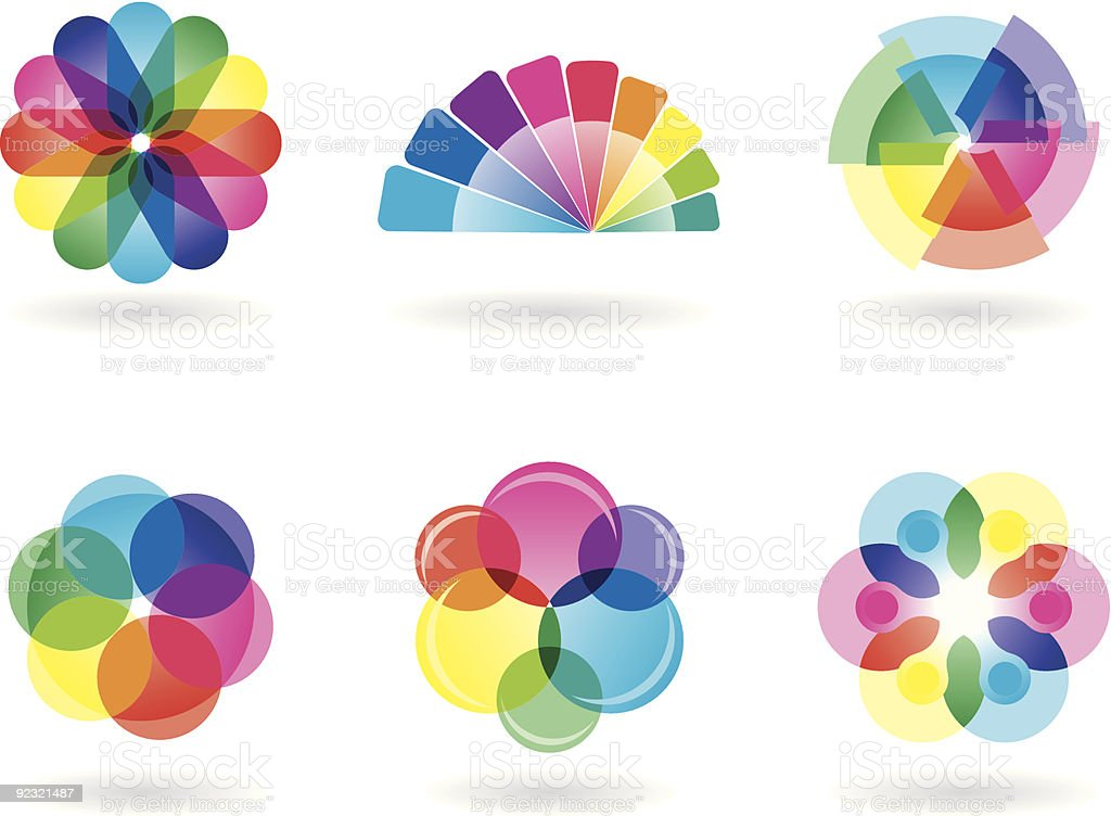 Rainbow Colored Design Elements vector art illustration