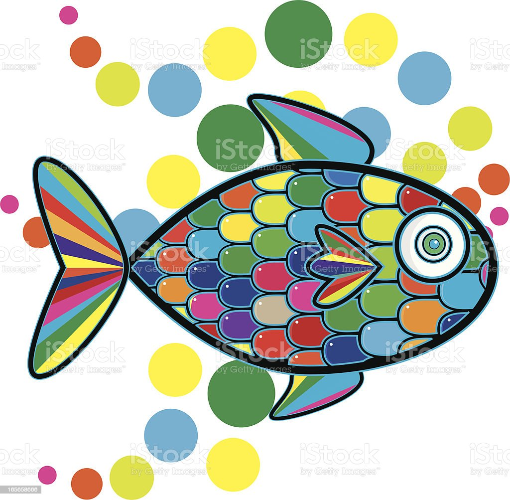 Rainbow Colored Fish Blowing Bubbles vector art illustration