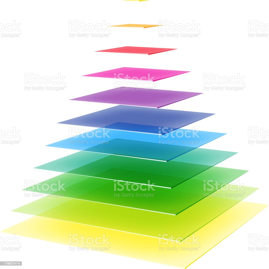 Rainbow colored pyramid royalty-free stock vector art