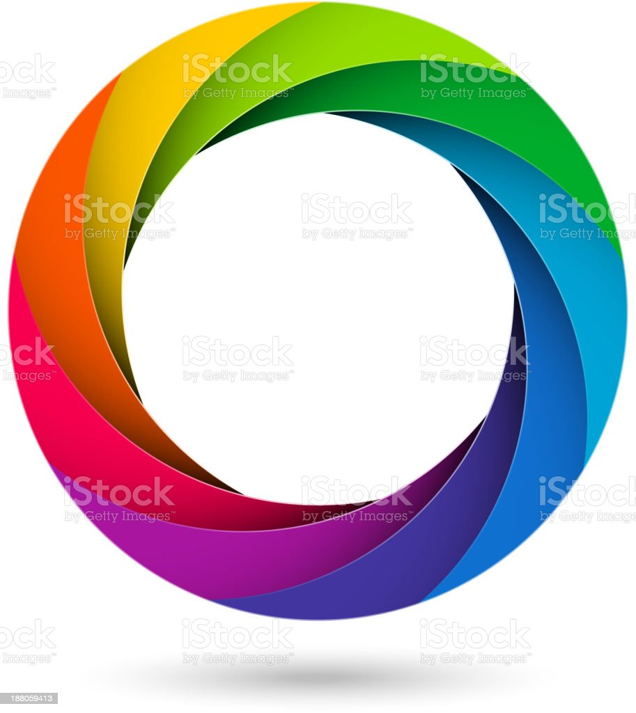 Rainbow colored vector graphic based on camera shutter vector art illustration