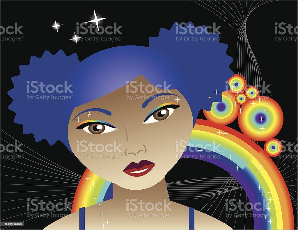 Rainbow Disco Diva vector art illustration