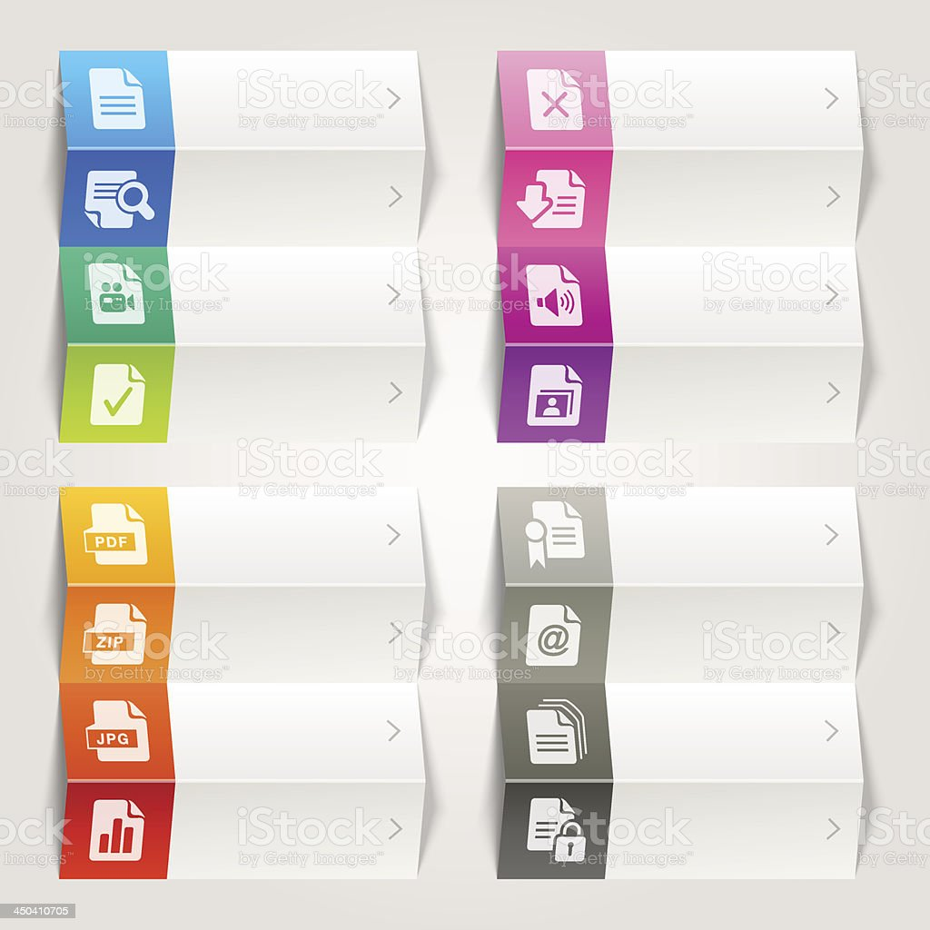 Rainbow - File format icons / Navigation template royalty-free stock vector art