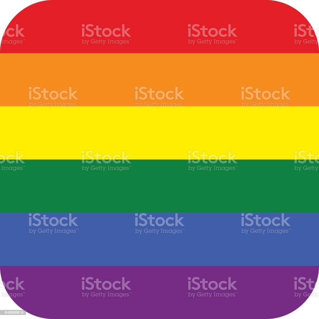 Rainbow Flag in Square Shape vector art illustration