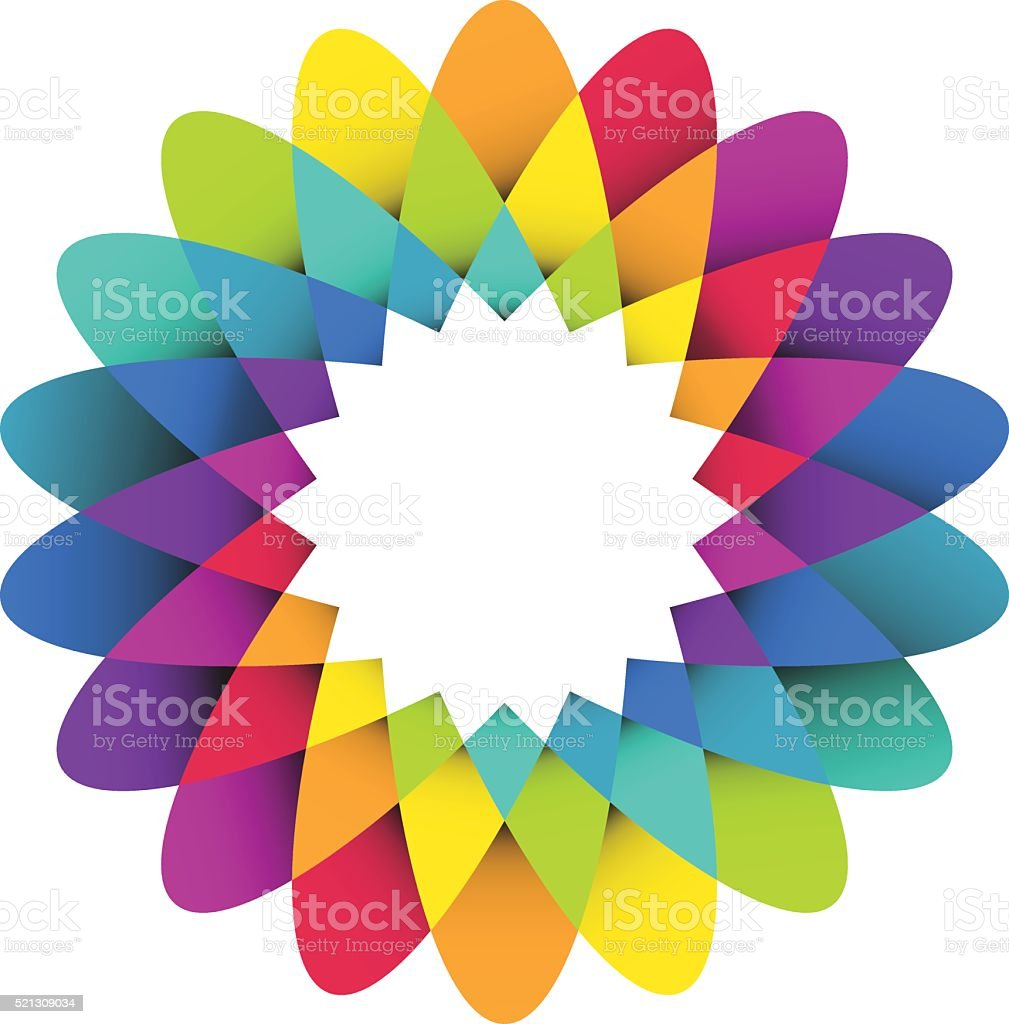 Rainbow flower logo vector art illustration