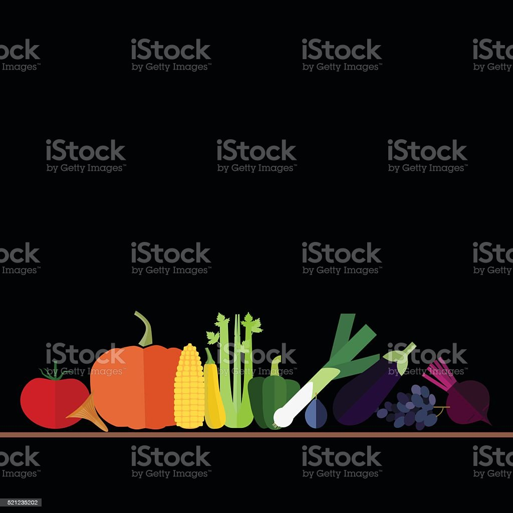 rainbow fruits and vegetables on black vector art illustration