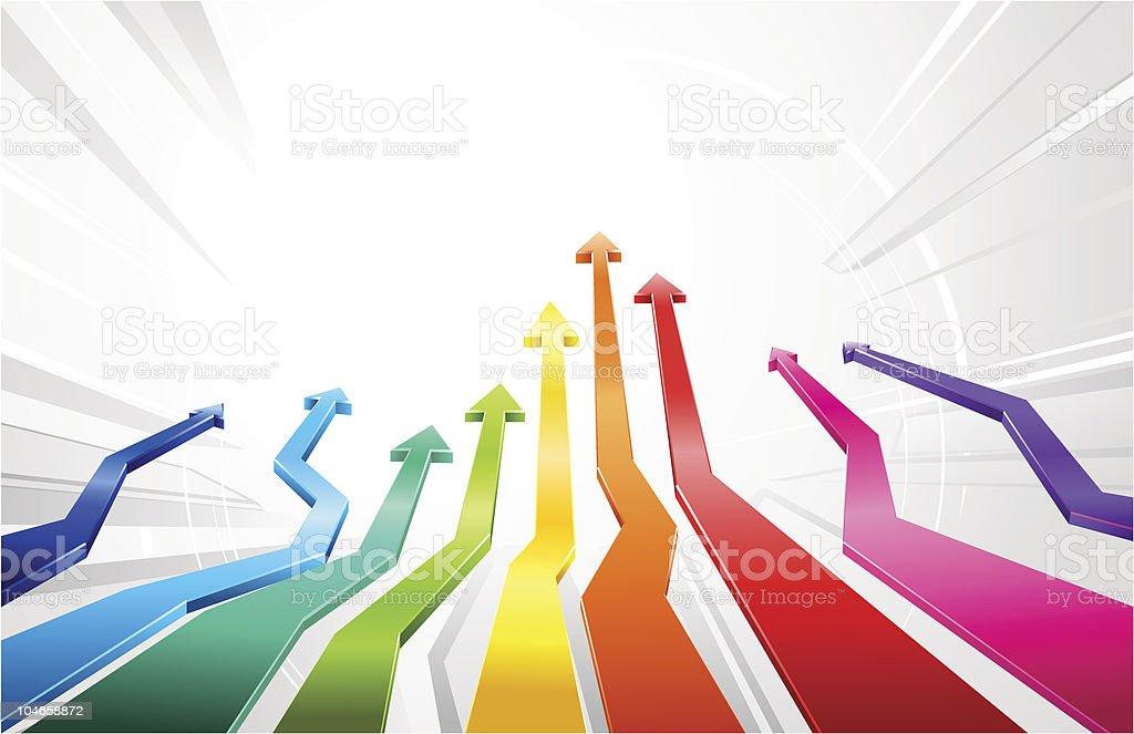 Rainbow glossy 3d arrows royalty-free stock vector art