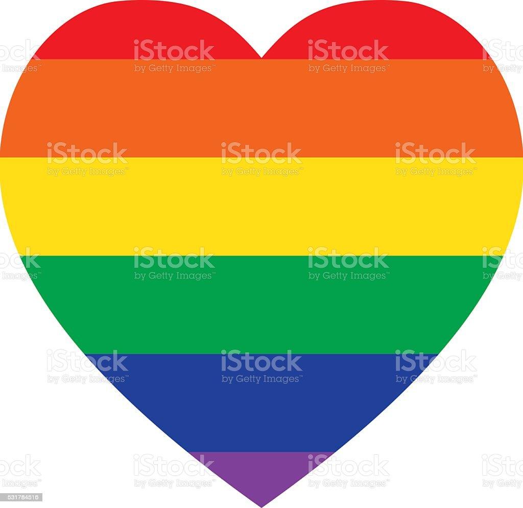 Rainbow Heart Shape - Classic Design, LGBT Icon vector art illustration