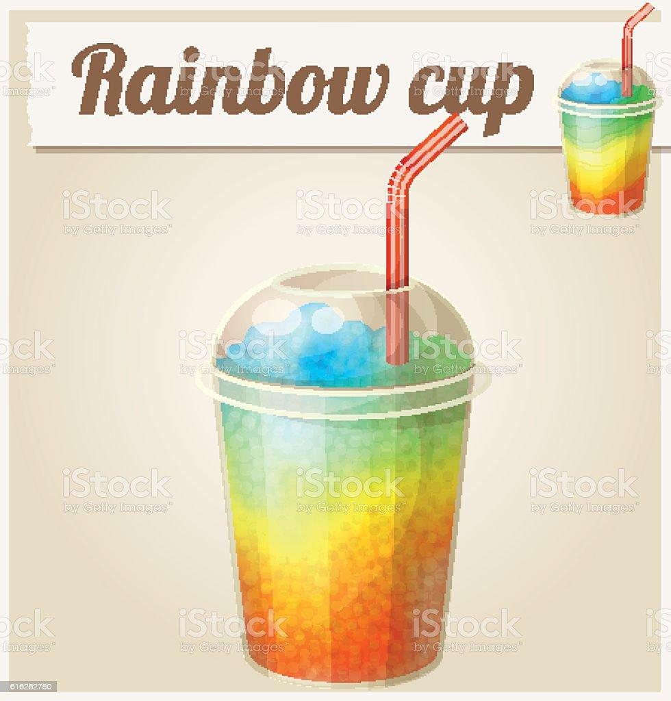 Rainbow ice cup (Frozen drink). Cartoon vector icon. Series of vector art illustration