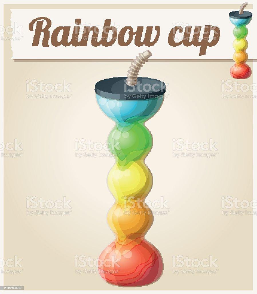 Rainbow ice cup (Frozen drink) unusual shape. Cartoon vector icon vector art illustration