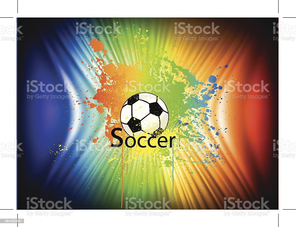 Rainbow ink background with soccer ball. Vector royalty-free stock vector art