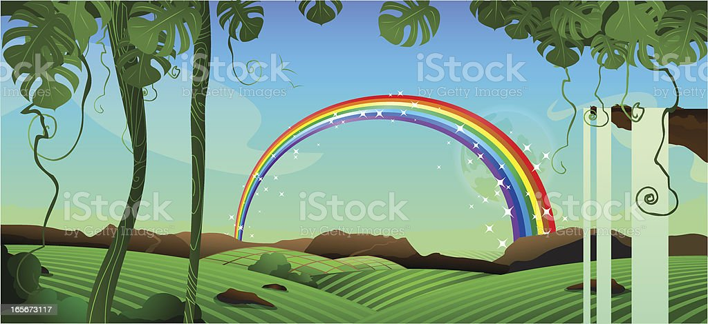 Rainbow landscape forest royalty-free stock vector art