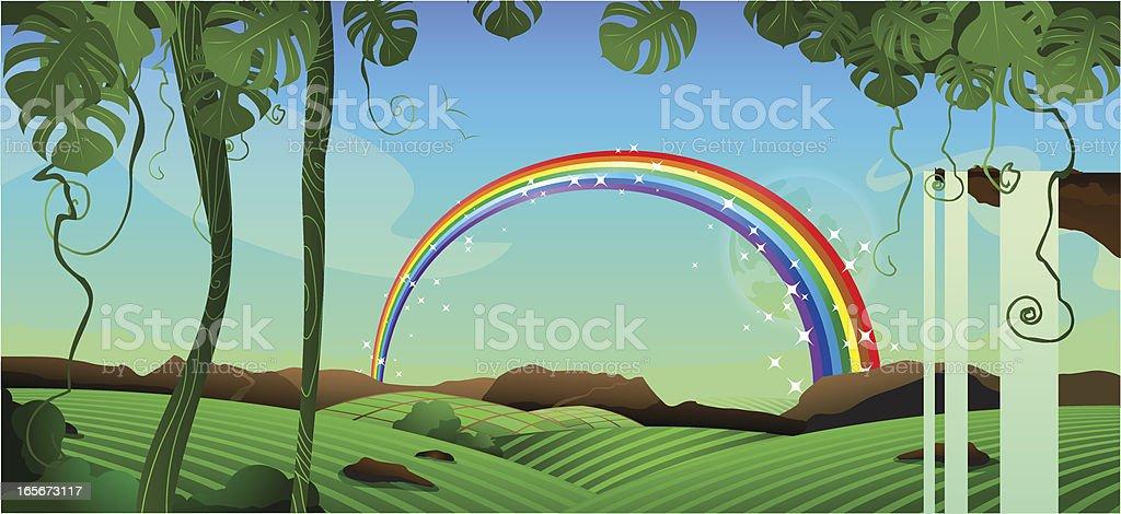 Rainbow landscape forest vector art illustration