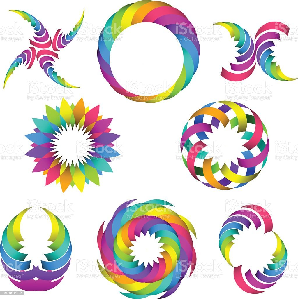 rainbow logo set for your design vector art illustration