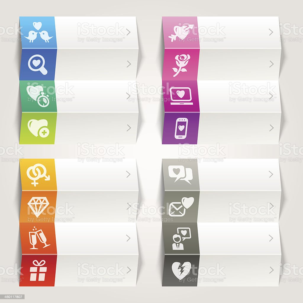 Rainbow - Love and Dating icons / Navigation template royalty-free stock vector art