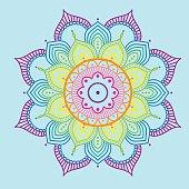 Rainbow mandala on blue background, illustration