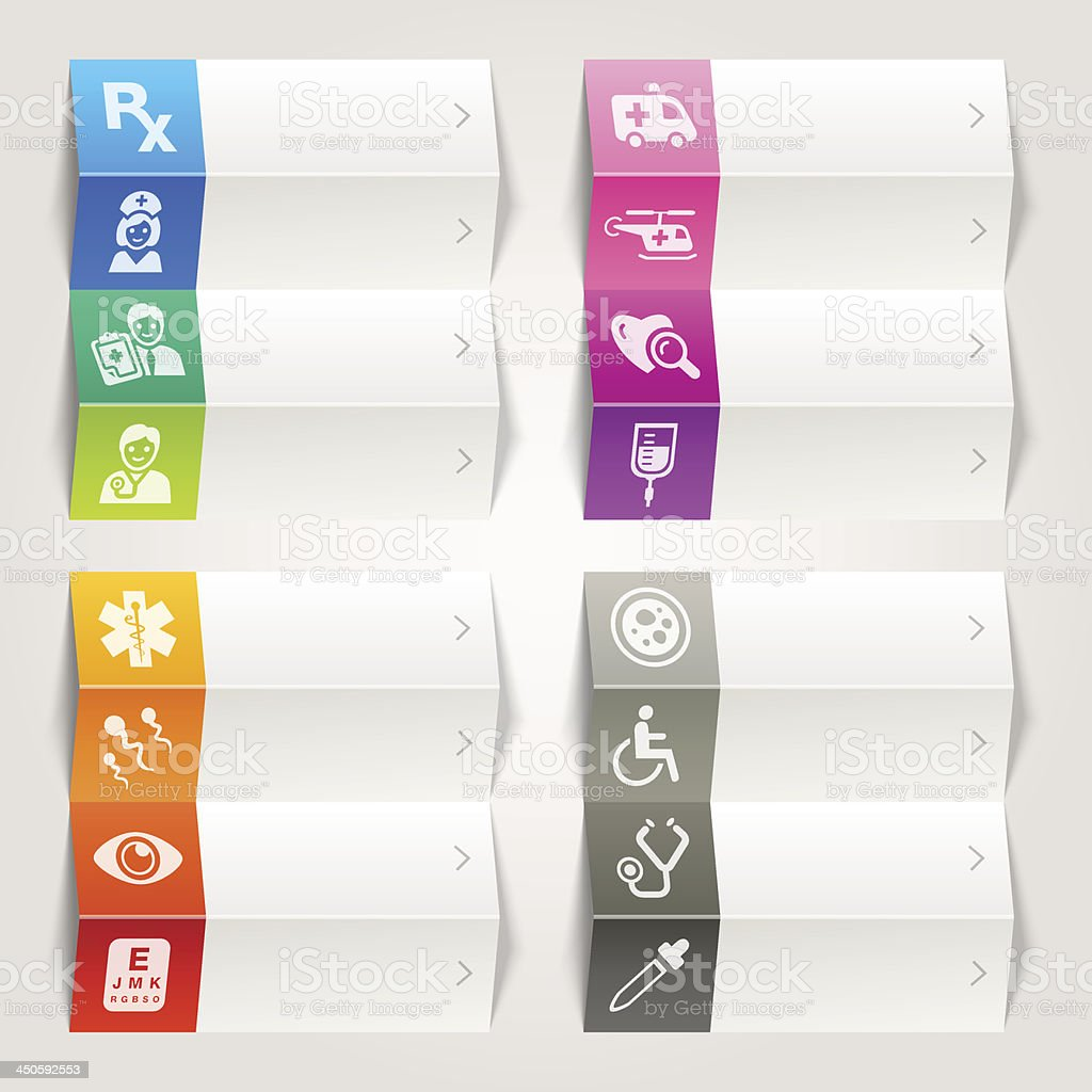 Rainbow - Medical and Healthcare icons / Navigation template royalty-free stock vector art