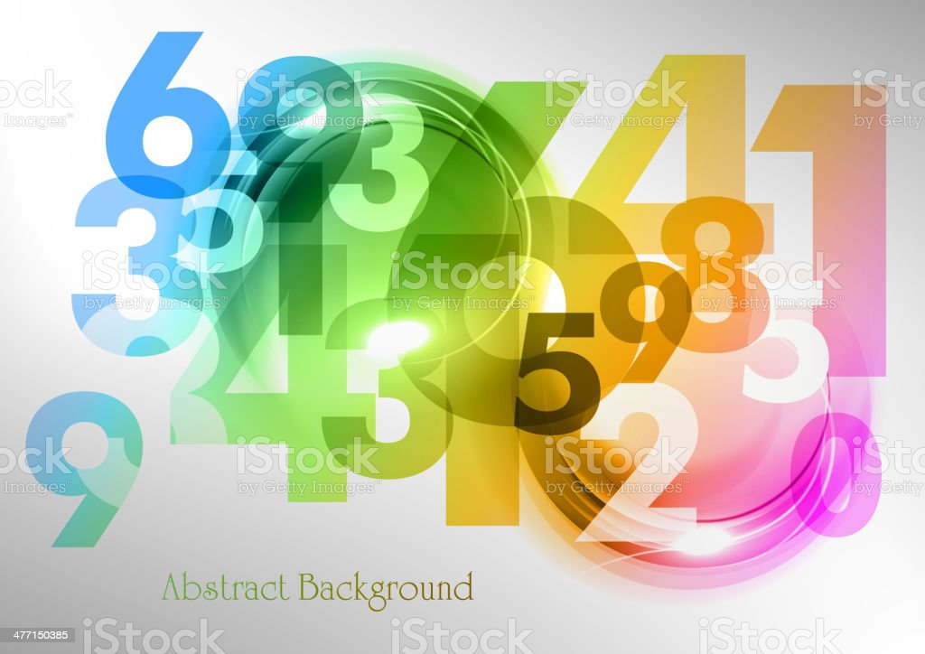 rainbow numbers vector art illustration