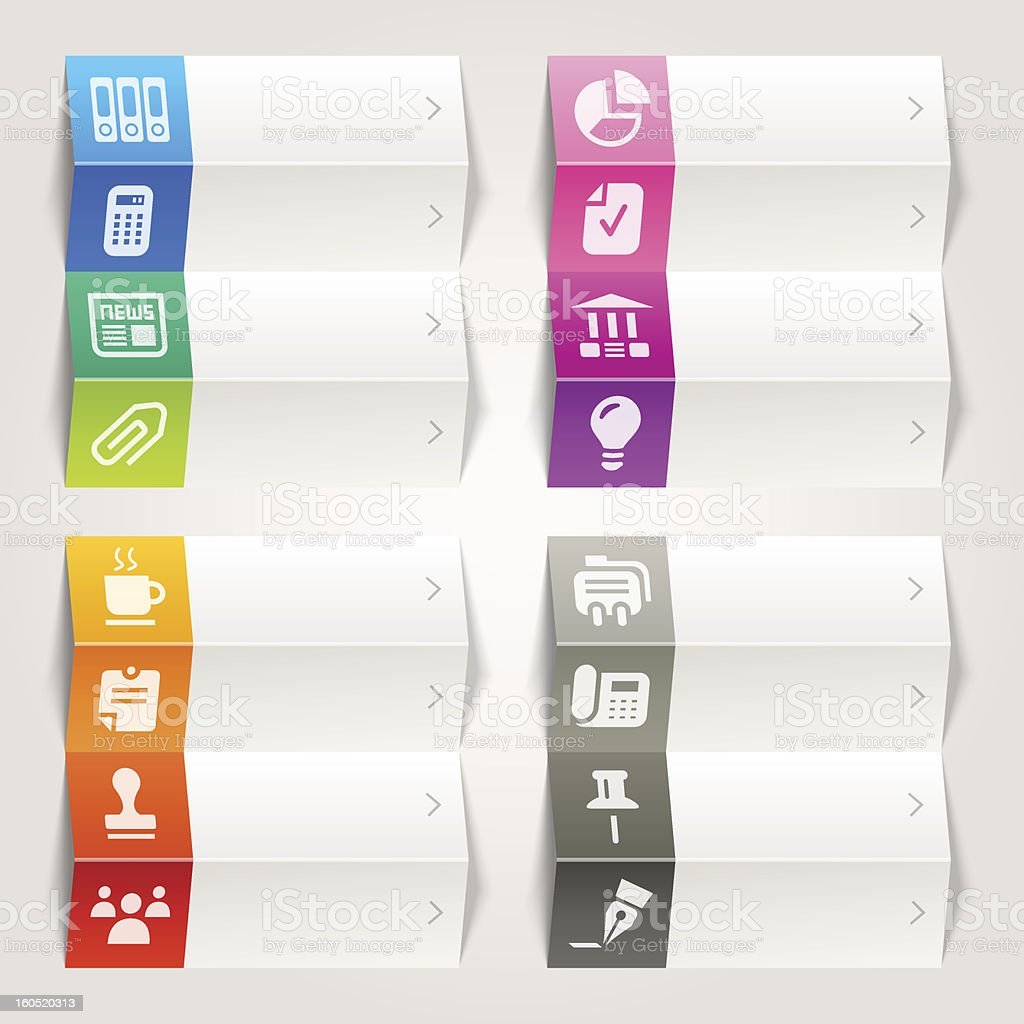 Rainbow - Office and Business icons / Navigation template vector art illustration