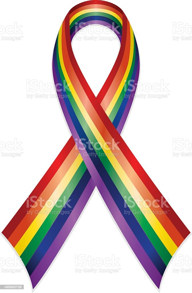 Rainbow or Gay Pride Awareness Ribbon vector art illustration
