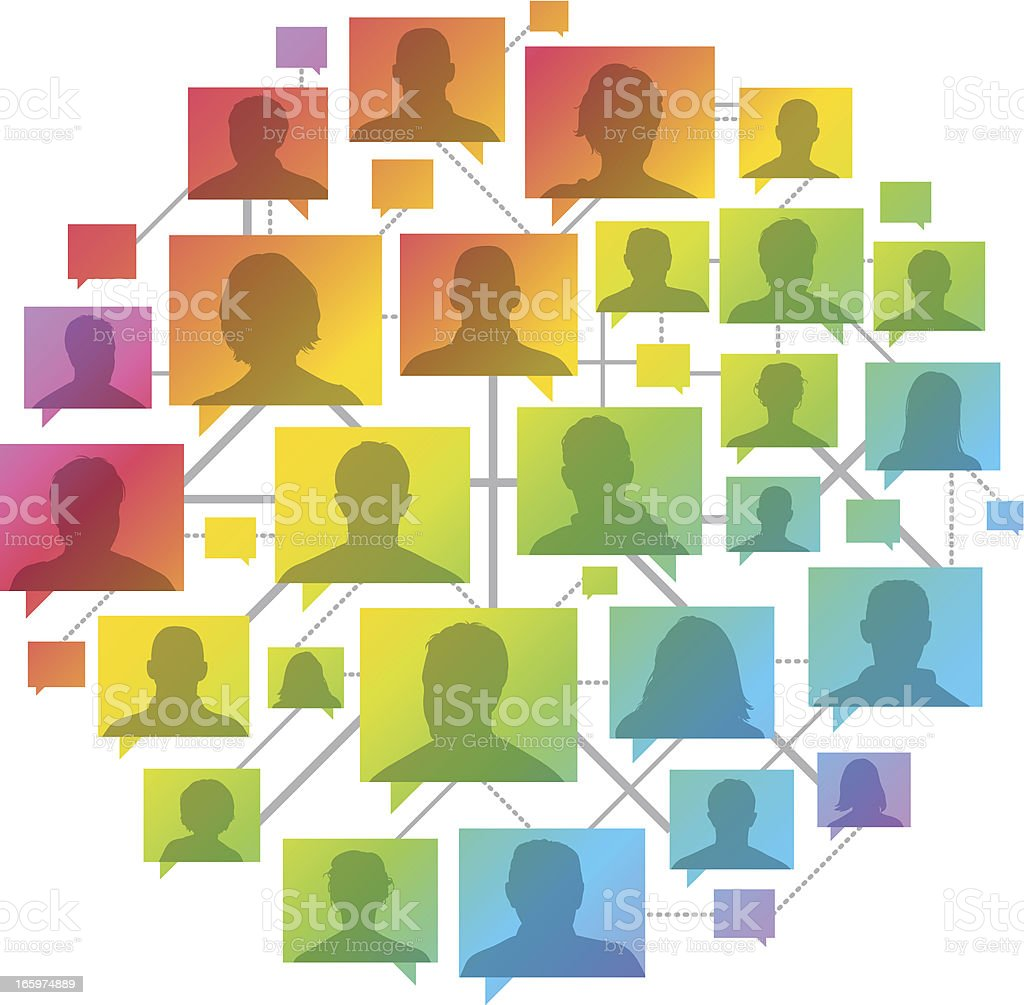 Rainbow people network vector art illustration