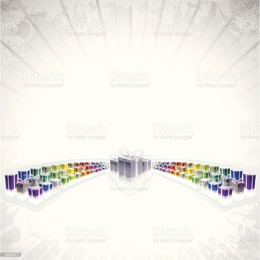 Rainbow Present Burst royalty-free stock vector art