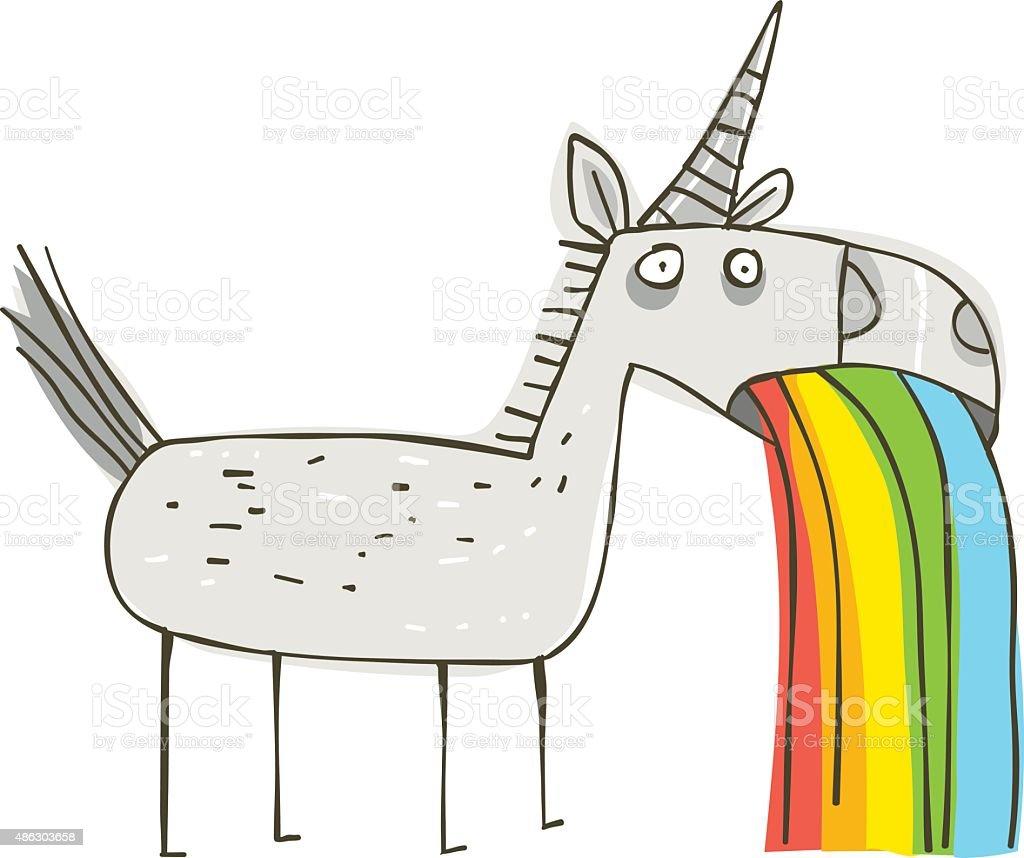 Rainbow Puking Unicorn vector art illustration
