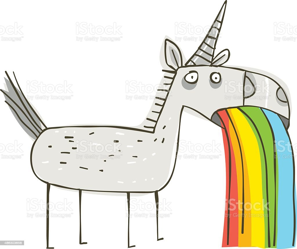 Rainbow Puking Unicorn vector art illustration