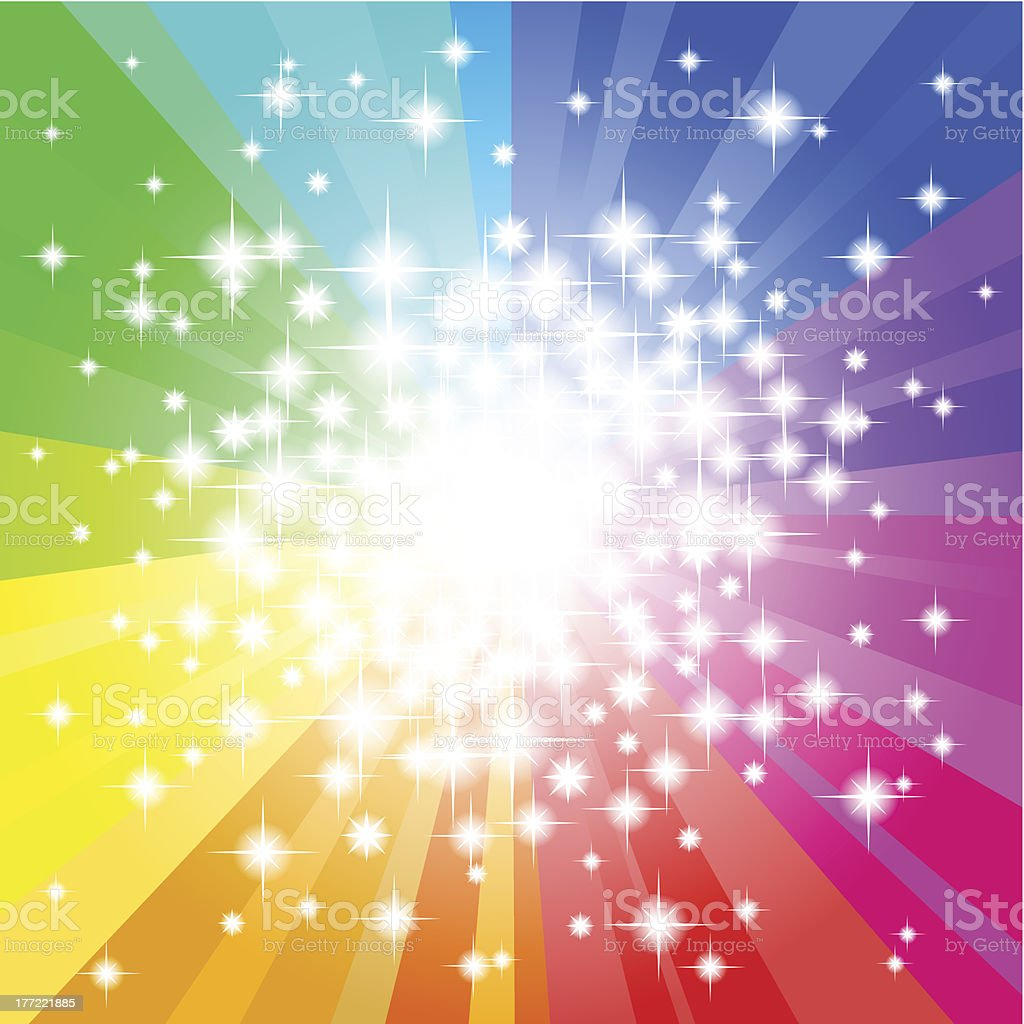 Rainbow radial gradient design with sparkles royalty-free stock vector art