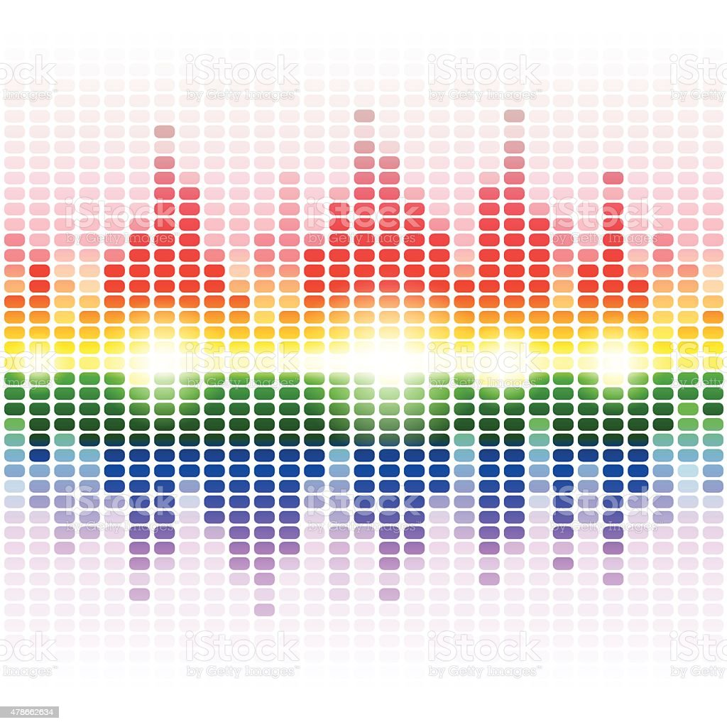 Rainbow shining digital equalizer on white background vector art illustration