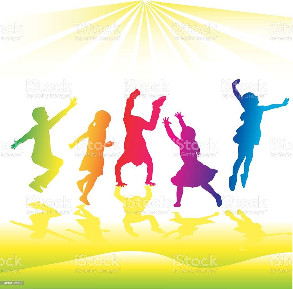 Rainbow Silhouette High Energy Kids vector art illustration