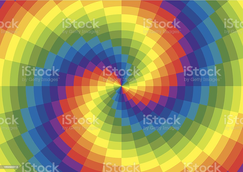 Rainbow Spiral Polar Grid vector art illustration
